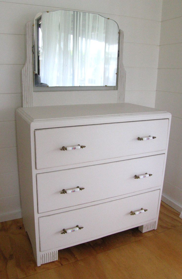 Upcycled Vintage Art Deco 4 Drawer Dressing Table With Mirror, Hand Painted In Distressed White and Gold