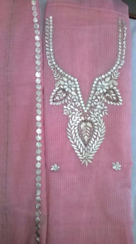 Pink Kota suit with pure Gota patti  hand work