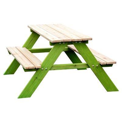 SUN Kinder Sitzgarnitur aus Massivholz für draußen natur-grün