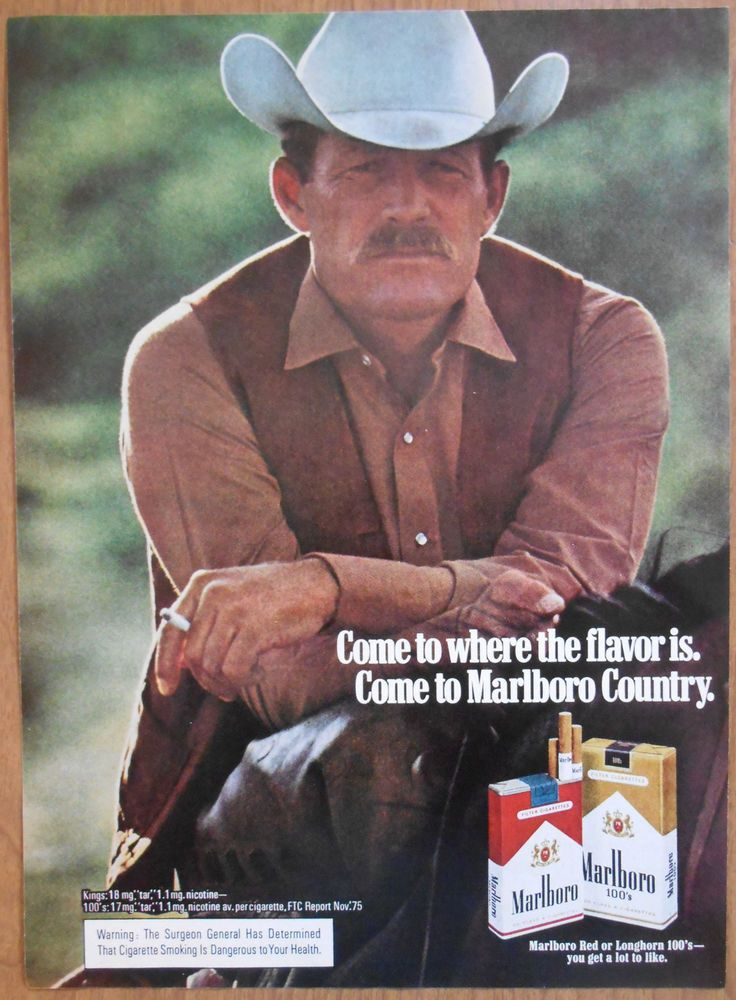 1976 original AD Marlboro Man cowboy smoking cigarette