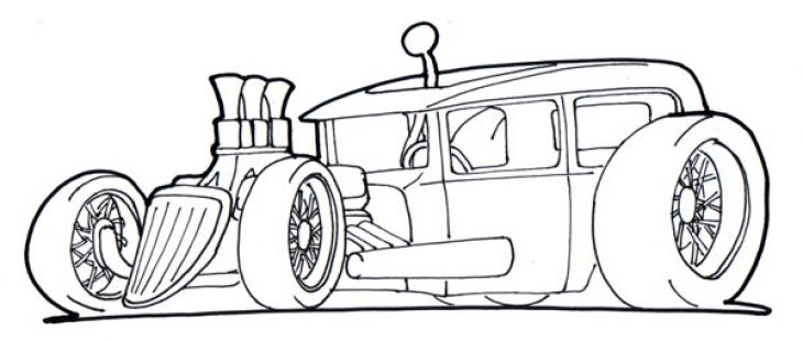 Free Drawing Page Of A Hot Rod Car To Print And Color For Kids