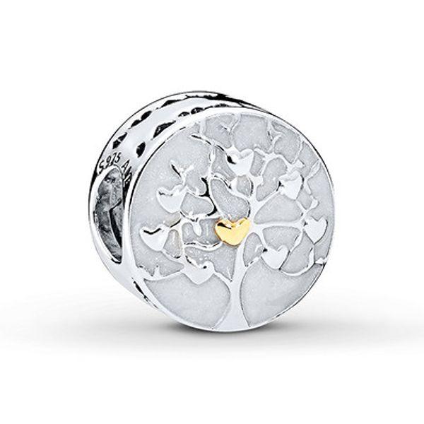 Pandora Charm Tree Of Hearts Sterling Silver 14k Yellow Gold Pandora Bracelet Charms Pandora Jewelry Silver