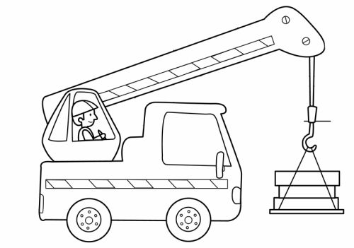 transportmittel kranfahrer zum ausmalen  ausmalbilder