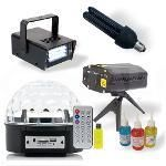 Kit Iluminação Festa Super 5x1 - Laser - Magic Ball Led - Strobo - Luz Negra - Tintas Uv