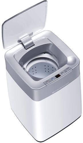 """Haier MW-BQ8S Mini • About $157.00 • Haier You can forgive me for somehow missing the Haier MW-BQ8S Mini at CES 2012 earlier this year. The 26 x 28 x 38 cm compact washing machine is about the size of a medium sized kitchen waste bin (photo for size reference), so it's easy to mistake it for anything but a washing machine. Inside, the top loading MW-BQ8S washes smaller items with an """"ozone sterilization"""" mode with three washing programs. No word yet whether this space saving, apartment…"""