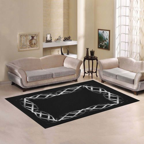 """Black & Silver Grey Twisted Metal Area Rug7'x5' 
