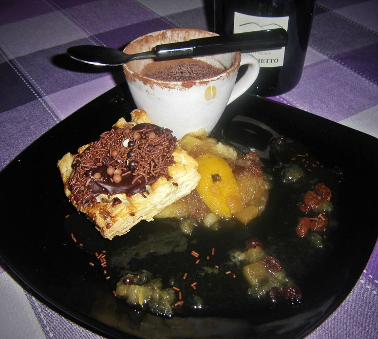 Strudel, Branyy Apple Compot ,Chocolate Musse Ice Cream