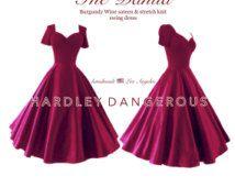Vinos de Borgoña ROCKABILLY Vestido, 40s 50s estilo Pin Up de dama de honor vestido de manga corta de oscilación, retro Cranberry vestido de fiesta formal Semi