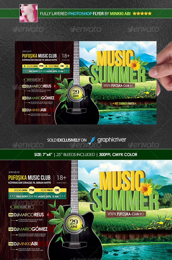 Summer Music Poster/Flyer #GraphicRiver This horizontal flyer ...