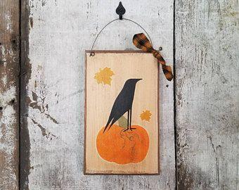 Primitive Fall Decor, Fall Decor, Crow, Leaves, Pumpkin, Halloween Decoration, Fall Decor, Rustic Fall Decor, Crow Decor, Halloween Decor