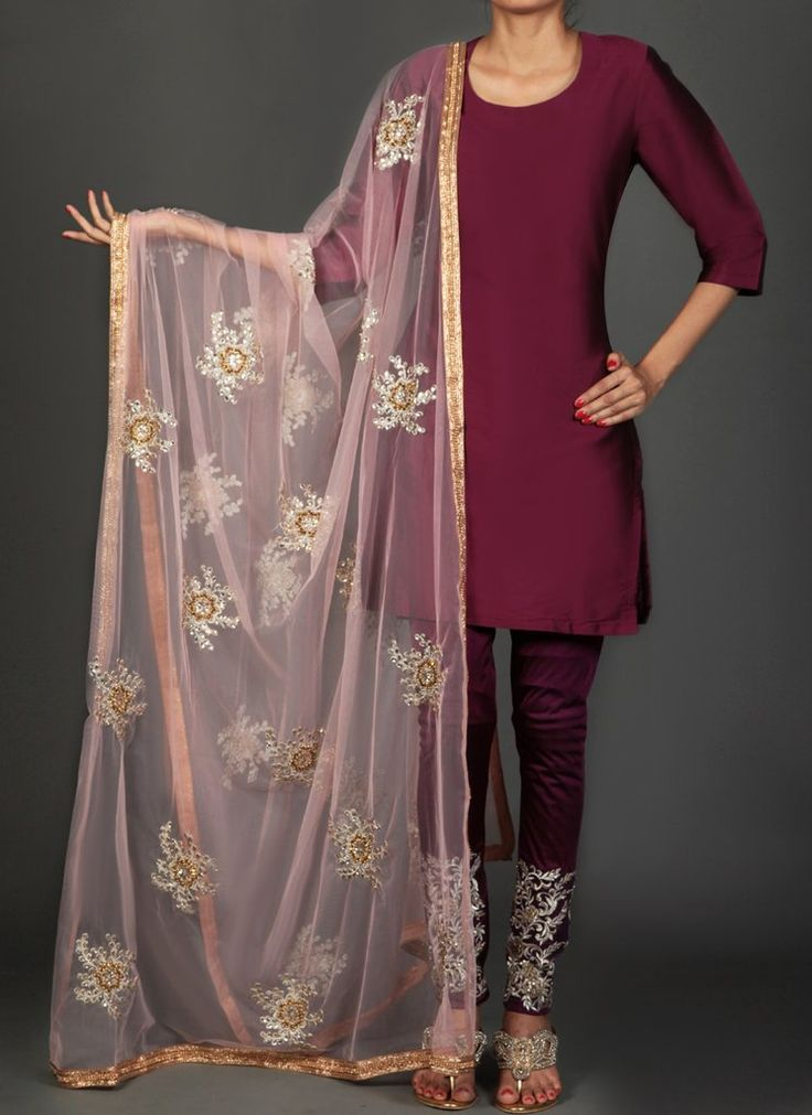 Wine and Light Pink Embroidered Churidar Suit