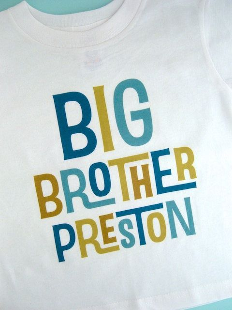 Boys Personalized Big Brother Tshirt or Onesie, Infant, Toddler or Youth sizes on Etsy, $14.99