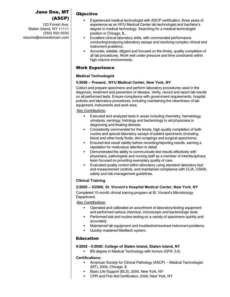 Medical Laboratory Technologist Resume Sample Medical Technologist