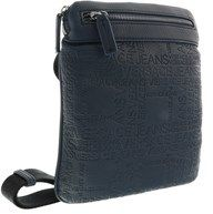 Versace Ee1yobb22 E240 Navy Blue Embossed Mens Messenger Bag.