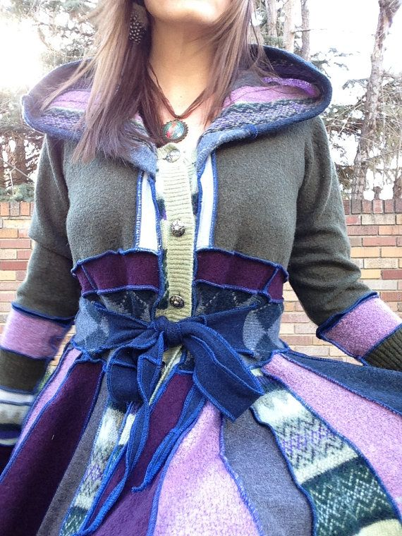 Upcycled wool sweater coat patchwork coat by StarfawnClothing