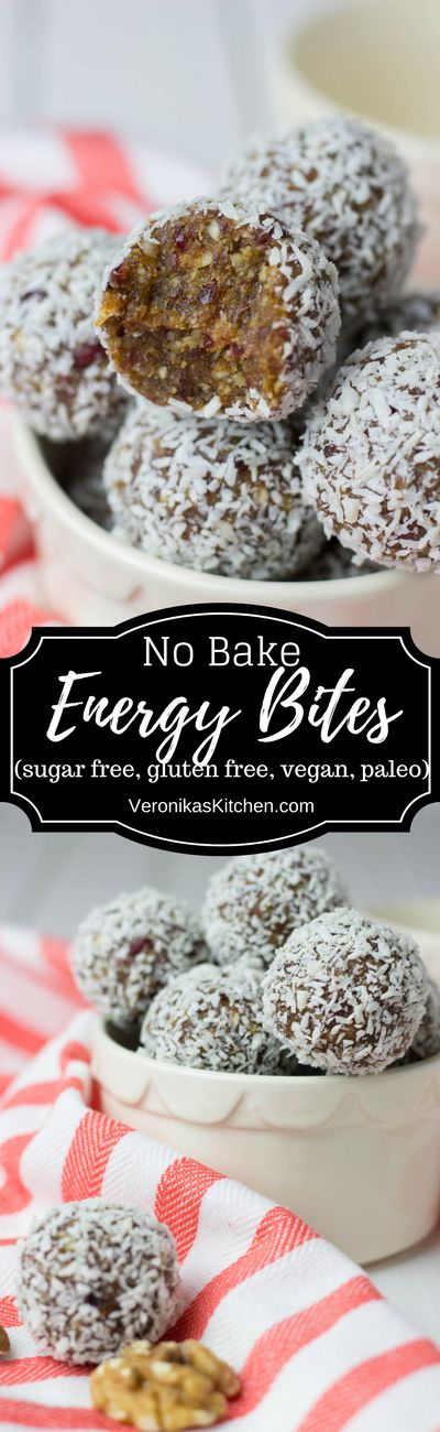 No bake Energy Bites with Dates and Nuts are sugar free, gluten free, vegan, paleo, and extremely delicious. They are easy to make and will keep you full and energized for a long time. (Vegan Healthy No Sugar)
