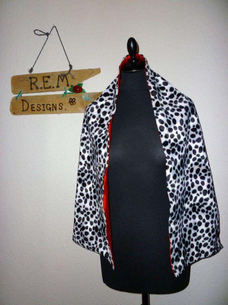 CRUELLA DE VILLE DALMATION 101 DOG SCARF + WRIST CUFFS SHAWL WRAP FANCY DRESS