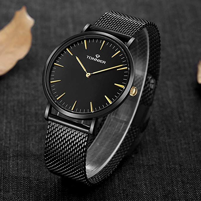 7f213292bf Black & golden - it's look awesome! Tonnier Stainless Steel Slim Men Watch