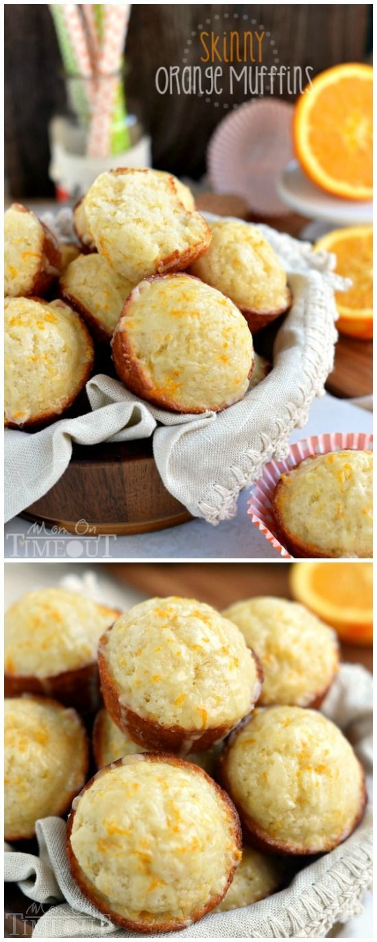 These Skinny Orange Muffins are made with Greek yogurt and plenty of orange zest for a terrific, bright orange flavor! So tender and moist, these muffins are a great way to start to your day! Perfect for breakfast or brunch! | Mom On Timeout