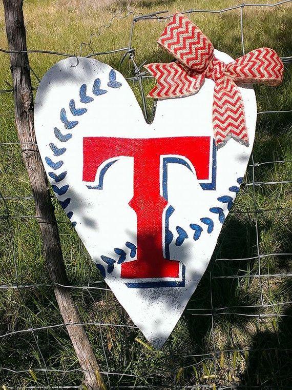 Texas Rangers Heart Shaped Door Hanger Wreath on Etsy, $50.00