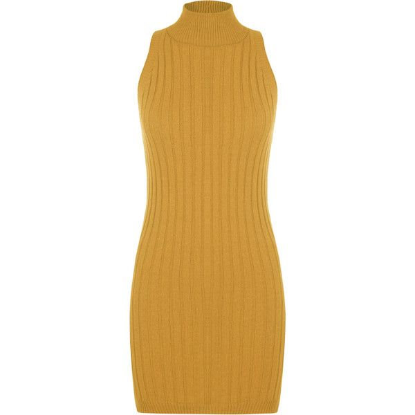 Kris Ribbed Turtle Neck Mini Dress ($29) ❤ liked on Polyvore featuring dresses, short dress, mustard, sleeveless turtleneck dress, brown dress, sleeveless turtleneck tops, brown cocktail dress and sleeveless bodycon dress
