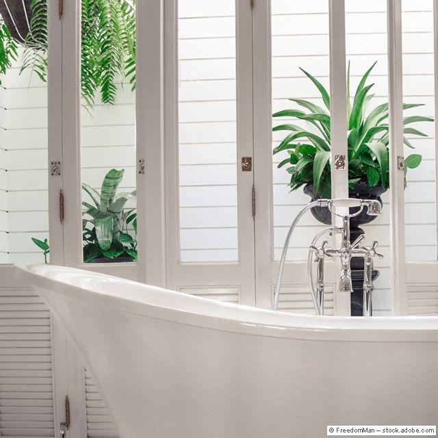 Perfektes Frühlings Kulisse Vor Der Freistehenden Badewanne #bathtub #green  #plants #country