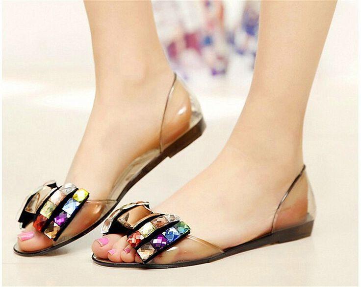 Summer Women Jelly Sandals Bling Bowtie Fashion Peep Toe Shoes Flats #Famous #FlipFlops #Beach