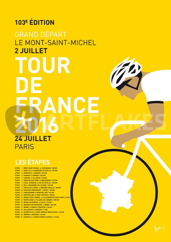 """""""MY TOUR DE FRANCE MINIMAL POSTER 2016"""" Graphic/Illustration art prints and posters by chungkong - ARTFLAKES.COM"""