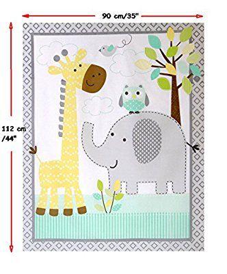 Nursery/Childrens/Babies Cot Quilt/Wall Hanging/Play Mat Fabric Panel --- Cute Safari Animals (Elephant/Giraffe/Owl) on a Neutral Grey/Aqua/Yellow Background