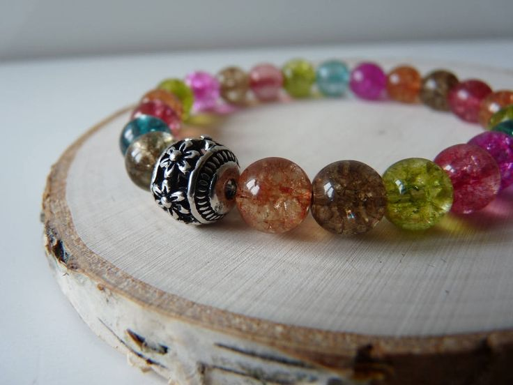 Multicolor Quartz bracelet , Handmade Watermelon Tourmaline Quartz Stretch Bracelet, Energy Crystal, Semi-precious stretch bracelet by nkcraftstudio on Etsy