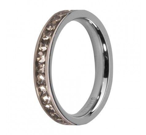 MelanO Side Ring Silver Crystal