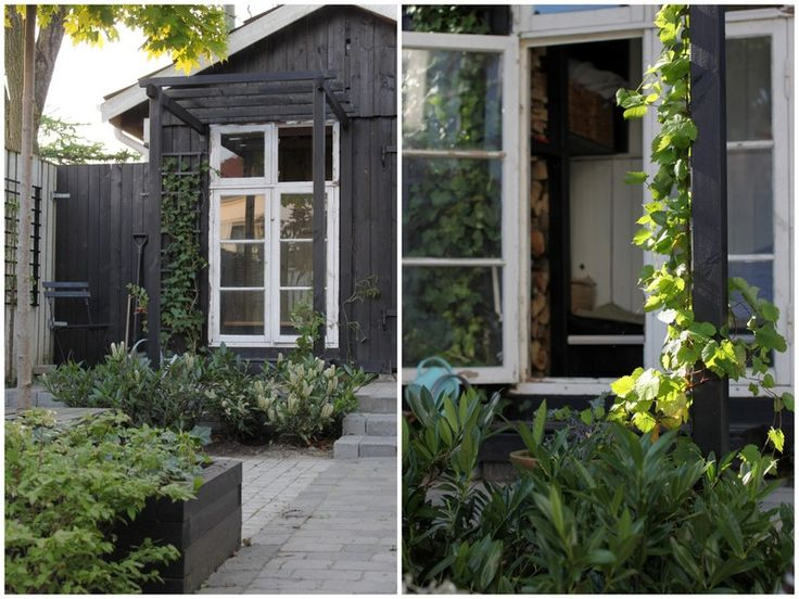 black shed/white trim HAVE PEOPLE: garden space