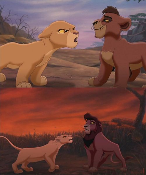 Kiara and Kovu. Proof that you don't mess with the girl when she's angry.