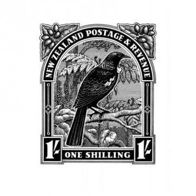 $29.00 Tui Stamp - Print - Framed - Art - Kiwiana & NZ Gift Shop