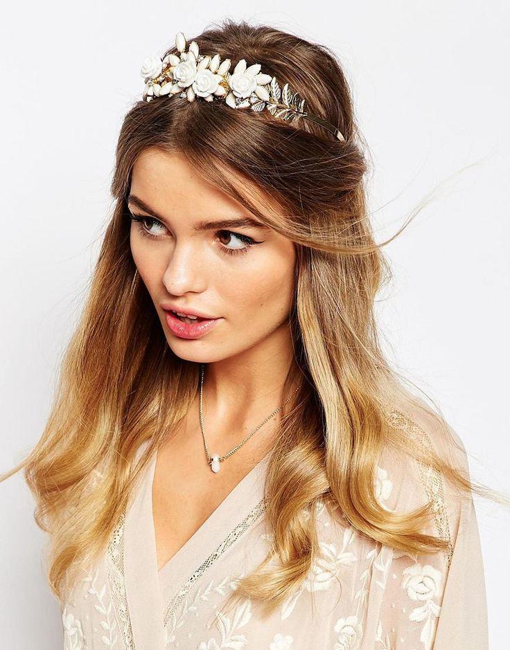 DESIGN Crystal And Pearl Floral Headband - Lilac Asos mpUBR