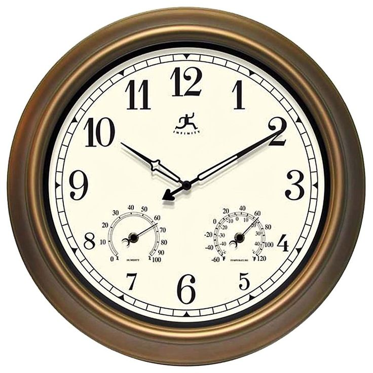 Infinity Instruments: The Craftsman 18 in. Outdoor Wall Clocks - 12144CP-1679