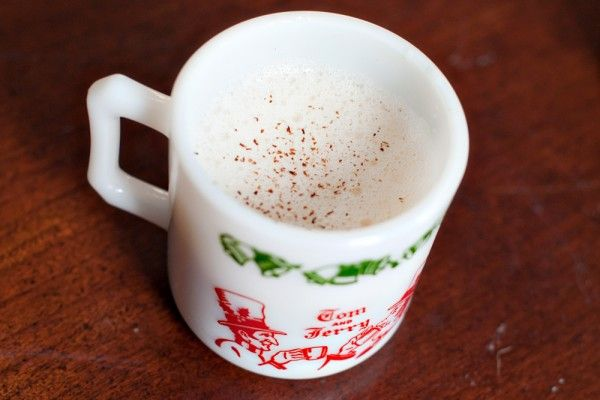 This cup brings back memories of my mom making Tom & Jerry's in exactly this cup for the holidays. I think I'll have one right now in her memory!  Yum. This link has a recipe but it's not the old-school Pacific Northwest one that I grew up with. That one calls for six eggs (whip the whites; mix the yolks with one pound powdered sugar). Combine and add a little cinnamon and cardamom. Add a scoop to a warmed mug, add a shot of bourbon and top with boiling water. Stir, and enjoy!