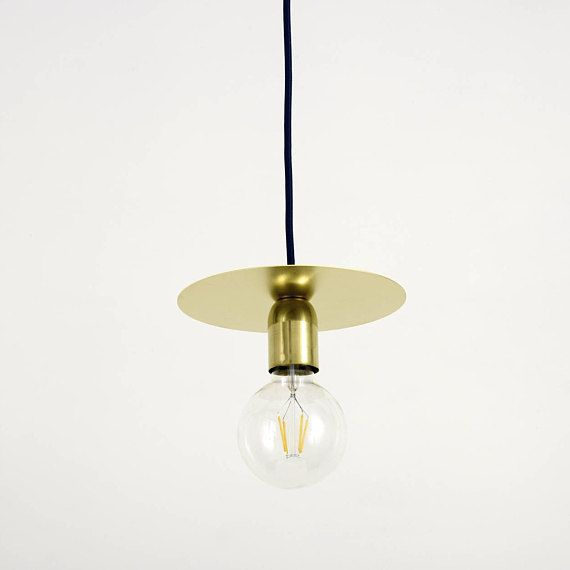 Arc 2 0 Brass Disc Pendant Light With Fabric Cable And Brass Lamp Holder Cover Brass Lamp Lamp Holder Brass Pendant Light
