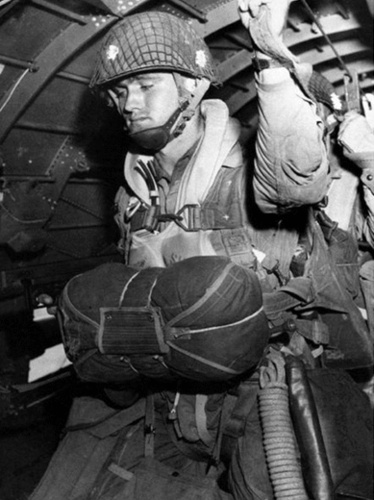 Remembering D-Day: Paratrooper about to jump into combat on D-Day, on June 6, 1944.
