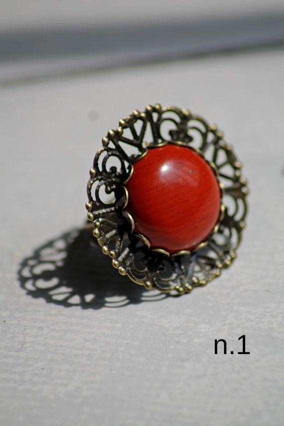 Anello vintage retrò regolabile con pietra di DIYGIOIELLIePIETRE, €8.00  Vintage ring with cabochon gemstone red jasper