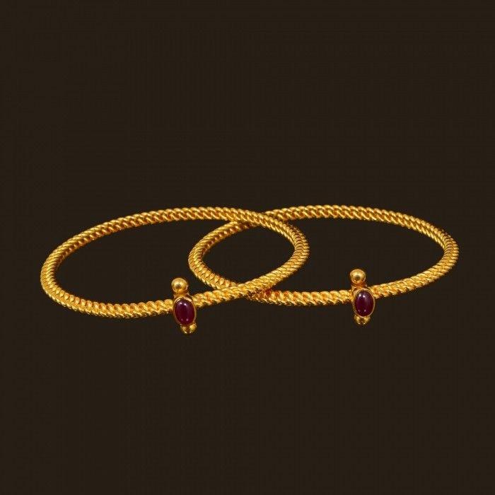 Gold Ruby Kolusu Bangles (VBJ-OW-GBA-10.) | Vummidi Bangaru Jewellers