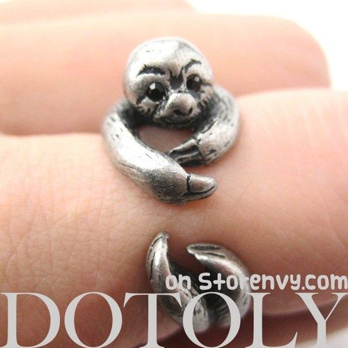 Realistic Sloth Animal Wrap Around Hug Ring in Silver - Sizes 5 to 10 | animalwraprings $12.50 @ber