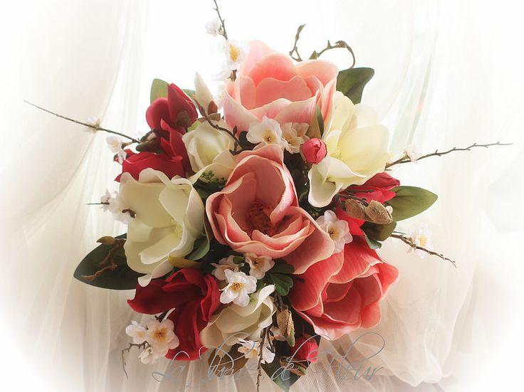 Stacie's Bridal bouquet  Magnolias and cherry blossom.