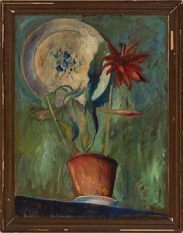 HENRIK ROM KRISTIANIA 1887 - KRISTIANIA 1919  Blomsterstilleben, 1918 Olje på lerret, 74x56 cm Signert nede til høyre: H. Rom 18
