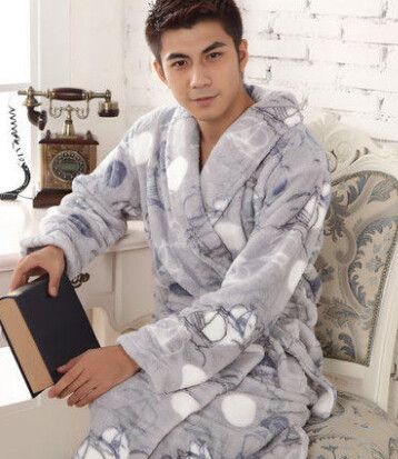 Autumn winter spring thick long flannel robe male coral fleece bathrobe men plus size brand lovers sleepwear nightgown women