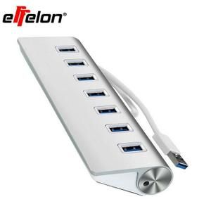 Hot 7 Ports Aluminum USB 3.0 Hub High Speed for PC Laptop + USB Cable