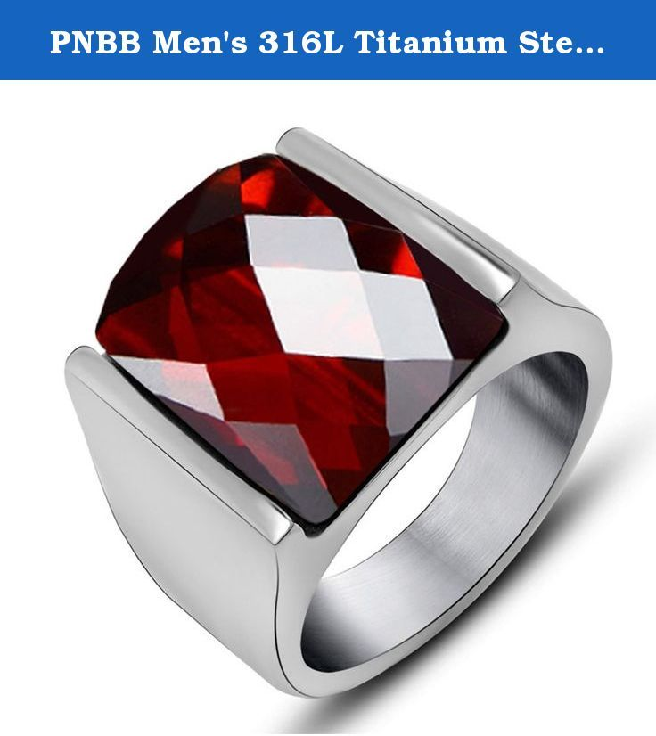 PNBB Men's 316L Titanium Steel Red Natural Garnet Natal Ring Size 7. Titanium steel jewelry does not tarnish and oxidize, which can last longer than other jewelries. Such as silver and gold. It is able to endure a lot of wear and tear. And it is amazingly hypoallergenic. Such advantages make it a more popular accessory.
