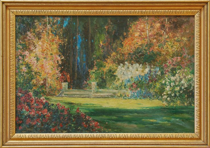 Tom Mostyn - Summer Garden  huge collection of original Thomas Edwin Mostyn available for exhibitions or sale