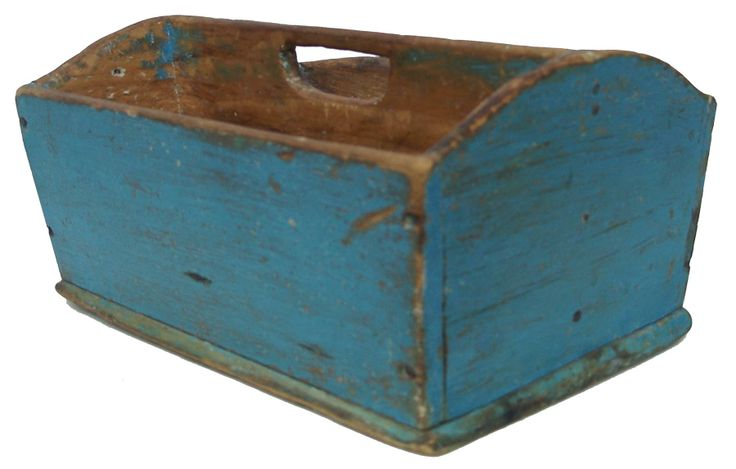 Late 19th century beautiful New England original blue painted Cutlery Tray