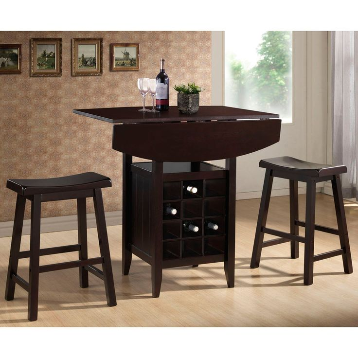 Baxton Studio Reynolds Wood 3 Piece Drop Leaf Pub Set with Wine Rack - Make the most out of your small dining space with this Baxton Studio Reynolds Wood 3 Piece Drop Leaf Pub Set with Wine Rack. The wood pub set in a...